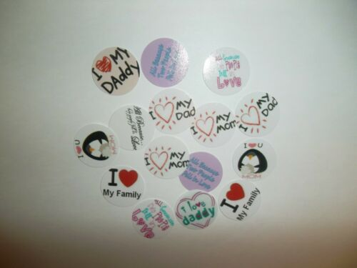 Pre Cut One Inch I LOVE MOM DAD FMILY Bottle Cap Images FREE SHIP