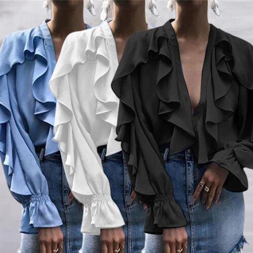 Summer Womens Plus Size Button Down Shirt Ruffle Club Party Beach Top Tee Blouse