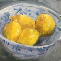 Lemons in a Bowl Modern British Oil Painting by Deborah Sweeney (1956-)