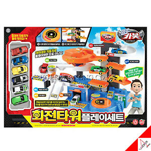 Hello-Carbot-ROTATING-TOWER-Play-Set-Kids-Toy-amp-6-Mini-Car-Korean-TV-Animation