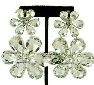 Massive-3-034-3-4-Inch-Blinding-CRYSTAL-Clear-Flower-Clip-Earrings