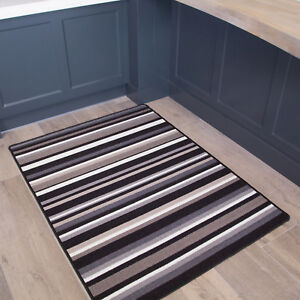 Details About Contemporary Black Non Slip Stripes Kitchen Rug Durable Washable Hall Runner Mat
