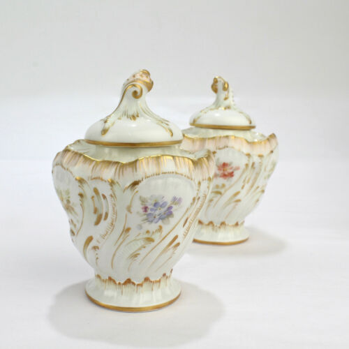 Pair 19th C Antique KPM Berlin Porcelain Weichmalerei Inkwells and Covers PC