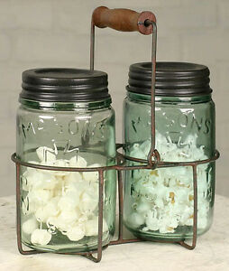 Primitive Farm Country Wire Green Rust Mason Jar Soap Lotion Caddy Wooden Handle
