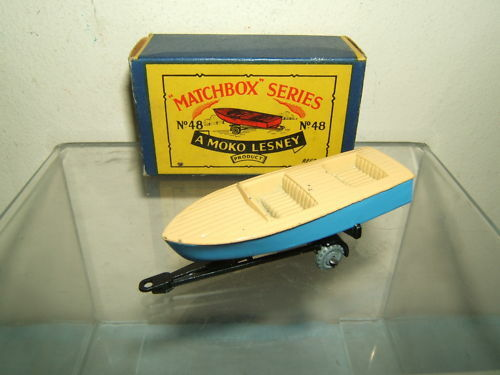 MATCHBOX MOKO LESNEY LESNEY LESNEY MODEL No.48a   METEOR  SPORTS BOAT & TRAILER  VN MIB 2ece48