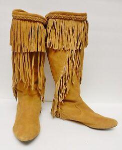 b9041ea0ff5d98 Sam Edelman Utah Boots Moccasubs Pull On Camel Suede Western Tribal ...