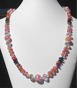 AUGUST-SUNSET-Crackle-Glass-Chinese-Crystals-MOP-Pink-Peach-24-1-2-034-Necklace