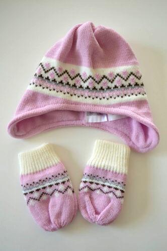 2-teilig Mütze /& Fäustlinge kuschelig und warm rosa neu!!! Baby Winter Set
