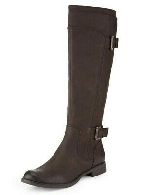 M/&S Berry Leather Ruched Detail Side Zip Knee High Boots with Insolia  UK 4.5