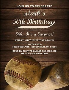 Image Is Loading Baseball Custom Designed Birthday Milestone Party Invitation