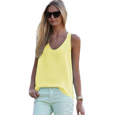 New Women V-Neck Vest Summer Loose Chiffon Sleeveless Tank T-Shirt Top Blouse