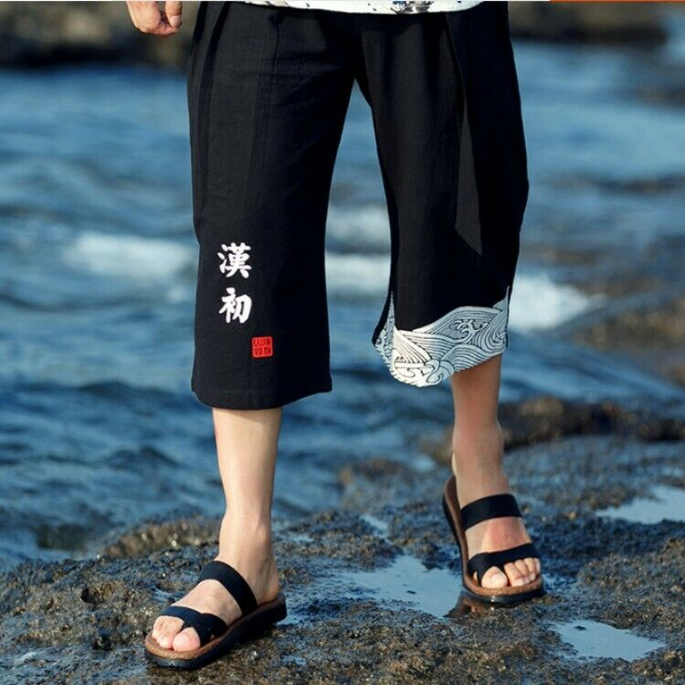 Mens Ethnic Cotton Linen Loose Fit Pants 7 10 Trousers Beach Casual Bis Size new