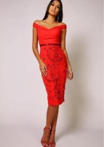 Vestido De Fiesta Virgos Lounge Petra Hombro Bardot Talla 16 18 Reino Unido