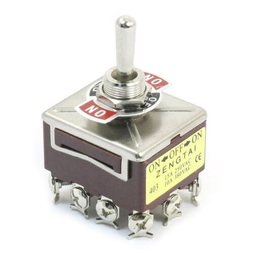 2X AC 380V 10A ON// OFF// ON 3 Positionen 12 Pin verriegelnder Kippschalter 4PD 2X