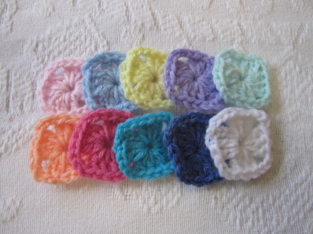 """80- PC. 1-1/2"""" HANDMADE GRANNY SQUARE CENTERS CROCHETED CHOICE OF 11 COLORS"""