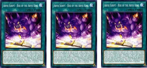 3 x Abyss Script  Rise of the Abyss King  LED3-EN054 common 1st Ed  YUGIOH Cards