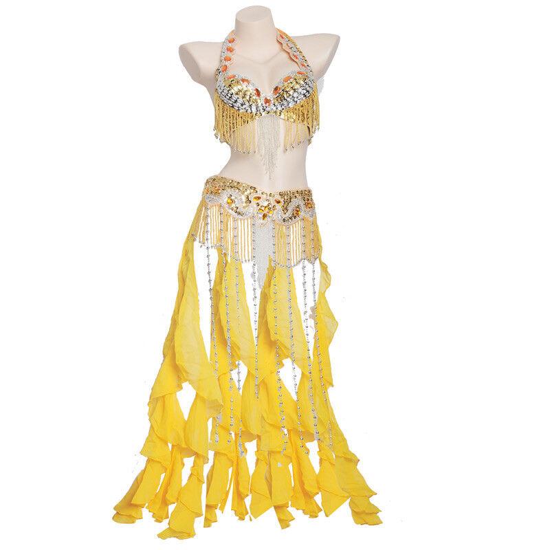 C91809 Bauchtanz Kostüm Belly Belly Belly dance Costume Outfit 2 Teile Oberteil BH Gürtel 8399a6