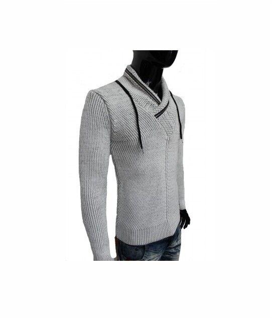 LCR Men's Fashion Sweater Jumper Knit Cardigan color Ecru 5070