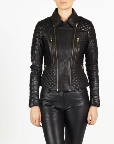 Leather Real Wns Lambskin Original Biker Motorcykel Fit Slim Women's Hot Jacket OqIPpP