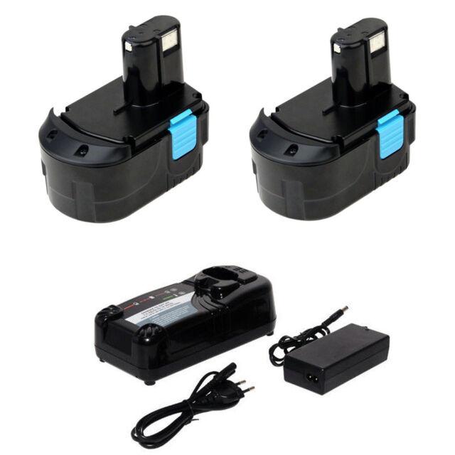 2 Battery For Hitachi 18V A 3.0Ah Heavyduty EB1814SL EB1820 EB1824L+charger
