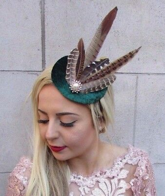 Dark Green Brown Pheasant Feather Pillbox Hat Fascinator Races Velvet Hair  4726 ef40180e1c0
