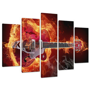 five picture modern red canvas art wall prints boys room guitars