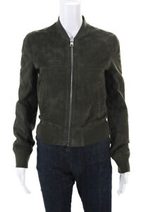 Theory Womens Daryette Full Zip Suede Bomber Jacket Green Size Small