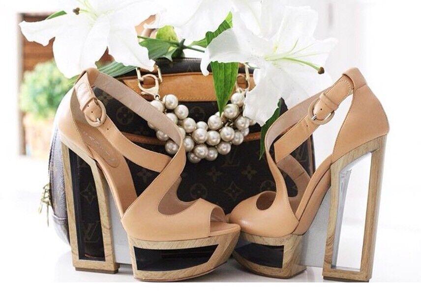 CASADEI Nude Tan OPERA D'ARTE, bellezza tacco alto plateau scarpe taglia 7.5 USA 4.UK
