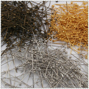 16-20-30-40-50mm-100PCS-Ball-Gold-Plated-Pins-Jewelry-Silver-Finding-Head