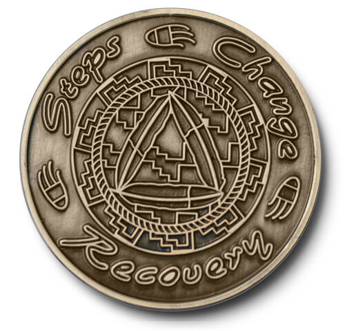 """/""""Steps//Change//Recovery/"""" Native American Theme AA Program Bronze Coin//Medallion"""