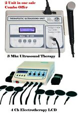 Ultrasonic 3mhz Ultrasound Therapy Electrotherapy Therapeutic Machine Lcd Combo