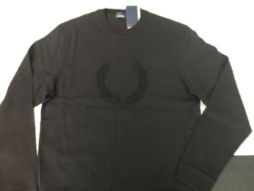 FRED PERRY Textured Sweat Top Mens Crew-Neck Black Size M-XXL Jumper BNWT R£85