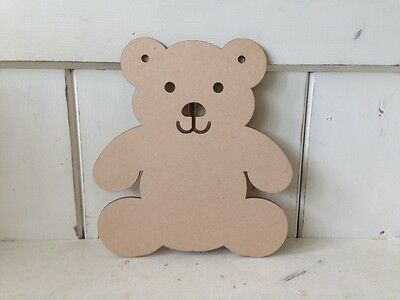 10 x TEDDIES - 10cm - Wooden MDF Blank Craft Shapes Decoupage Tags Bunting