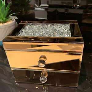 2-DRAWER-JEWEL-DIAMANTE-MIRRORED-JEWELLERY-BOX-STORAGE-BOX-CHEST-TRINKET-copper