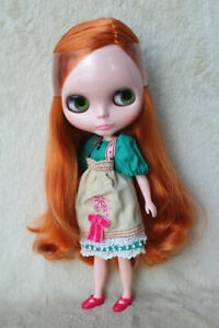 """12/"""" Neo Blythe Doll from Factory Nude Doll Red Apricot Curly Hair Partial Hair"""