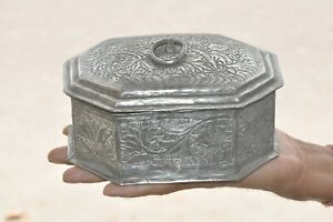 Old-Copper-Nickel-Plated-Inlay-Engraved-Unique-Handcrafted-Jewellery-Box