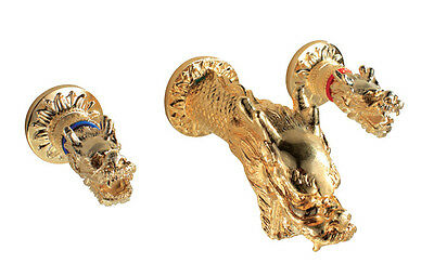 Ti-Gold PVD dragon Design widespread bathroom Lavatory sink Faucet wall mounted