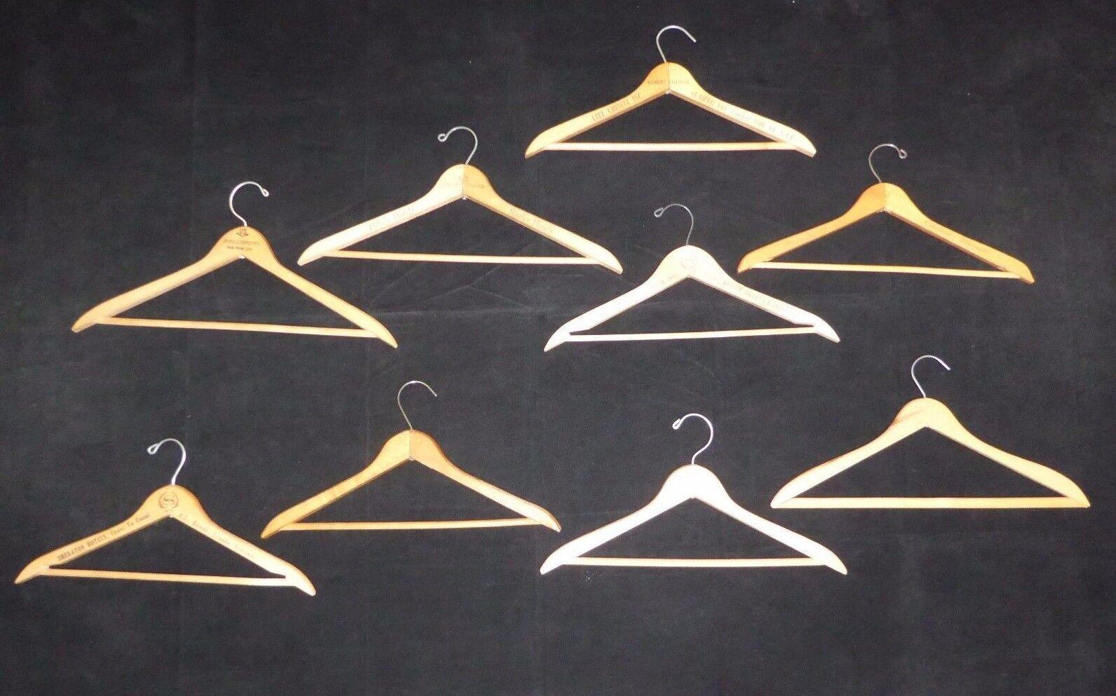 9 Vintage Wooden Hangers Sheraton Ramsby Executive House Statler Lexington