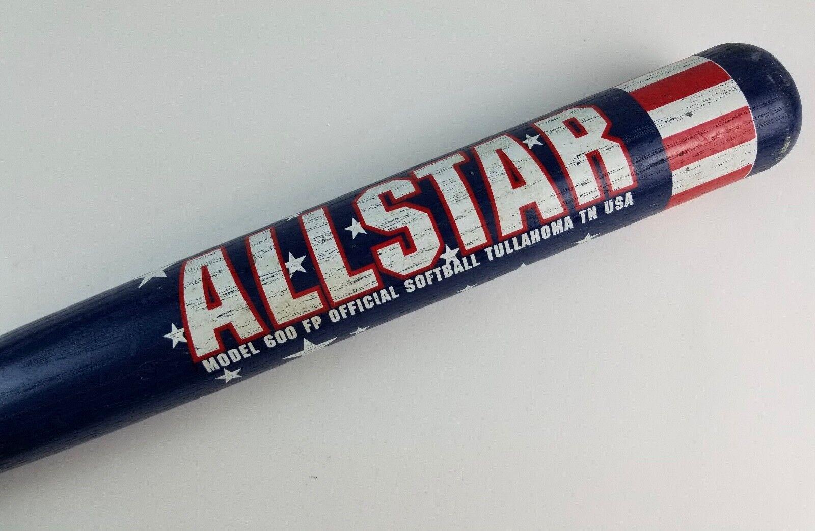 Pre-Owned Softball Bat Worth 600 FP Allstar Red White bluee Star Wooden 34.5