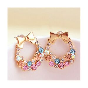 TWO-Earrings-Pastel-Rhinestone-Gold-Wreaths-Piercing-Elegant-Crystal-Pink-Blue