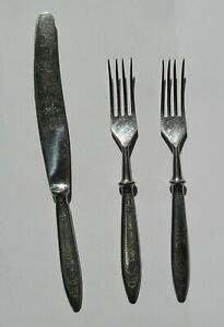 Cutlery-Forks-Knives-Stainless-Steel-Soviet-Vintage-Set-of-3-pieces-USSR