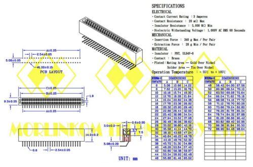 """100 industriel Carte EDGE Slot Socket Connecteur 22x2P 44P 2.54 mm 0.1/"""" Angle Droit"""