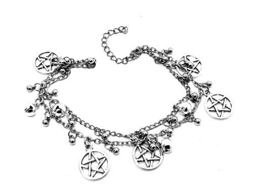 1 x Pagan Wiccan Charm Bracelet Pentacle Double Chain Bead Bells Ankle Bracelet