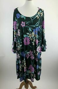 Lane-Bryant-Dress-18-20-Black-Floral-Shift-Bell-Sleeves-Scoop-Stretch-B57-13P