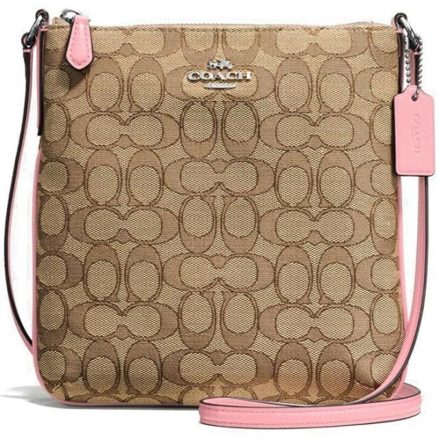 Coach Signature Outline North South Crossbody Khaki Blush Pink F58421
