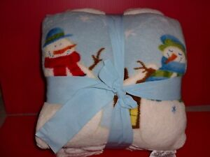 Holiday Time Pillow Throw Combo Blanket And Pillow Snowman Christmas NEW