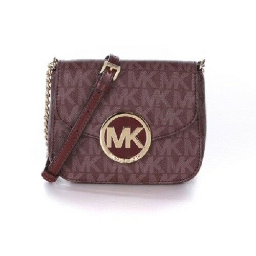 82c1dab22a93 Michael Kors Fulton Leather Small Crossbody Purse Bag Merlot Signature for  sale online