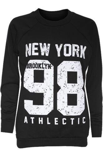 Kids Girl Brooklyn 76 Newyork 98 Print Crew Neck Long Sleeve Pullover Sweatshirt