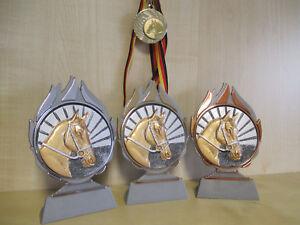 Pokale & Preise Reiten Pferde Pokal Kinder Medaillen 3er Set mit Deutschland-Bändern Turnier