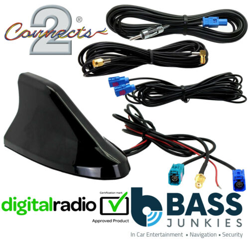 Shark Fin Roof SMA Digital DAB FM GPS Car Stereo Radio Aerial /& Extension Cables